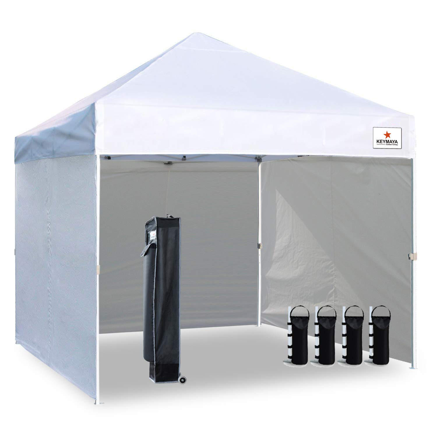 Keymaya 10'x10' Ez Pop Up Canopy Tent Commercial Instant Shelter with 4 Removable sidewalls Bonus Weight Bag 4-pc Pack 10x10, 10' x 10', 1# White