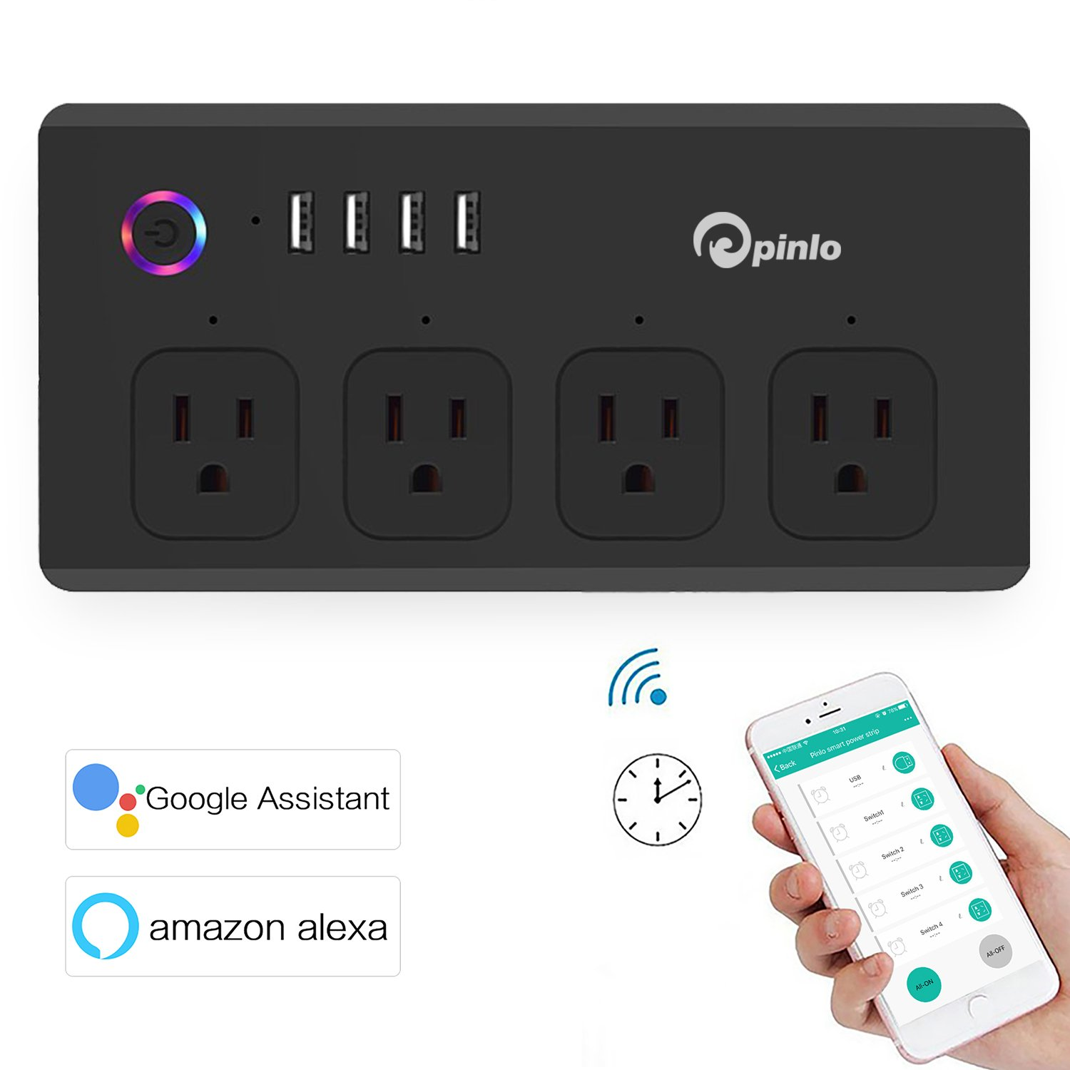 Smart Power Strip Wi Fi Bar 4 Individually Outlet Google Patents On Wiring A Light Switch Off Gfci Controlled Outlets Fast Usb Chargers With 5 Feet Cord Surge Protector Compatible Amazon