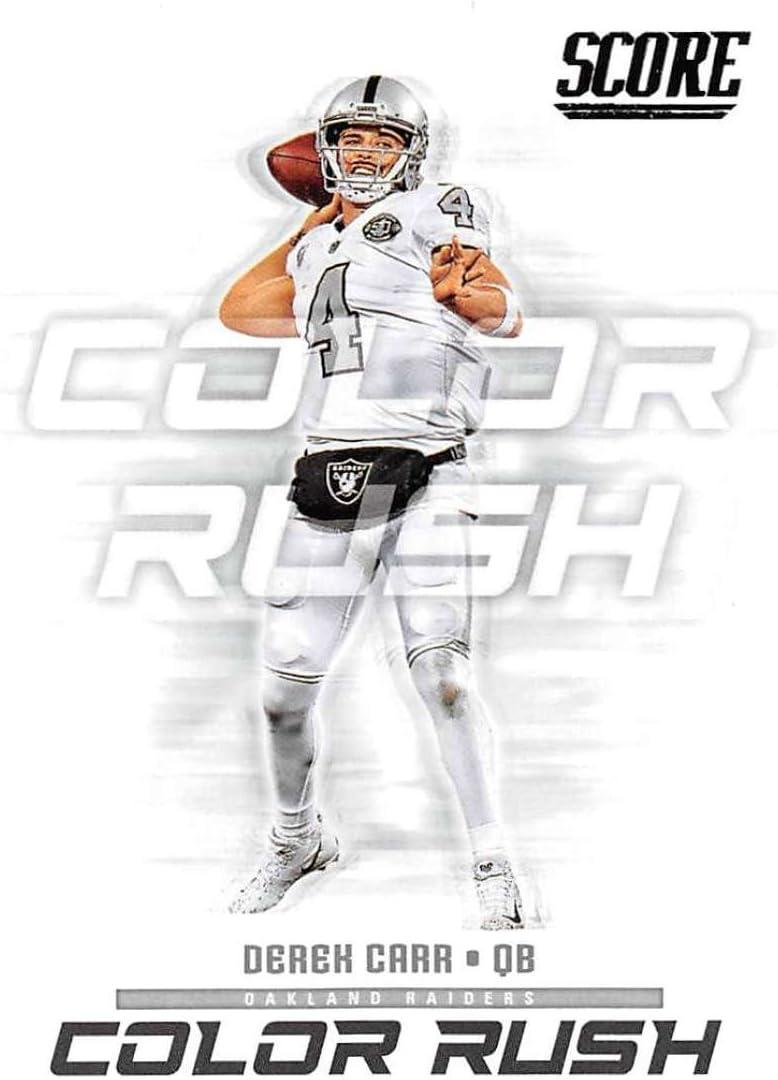 2018 Score Color Rush #20 Derek Carr Oakland Raiders Football Card