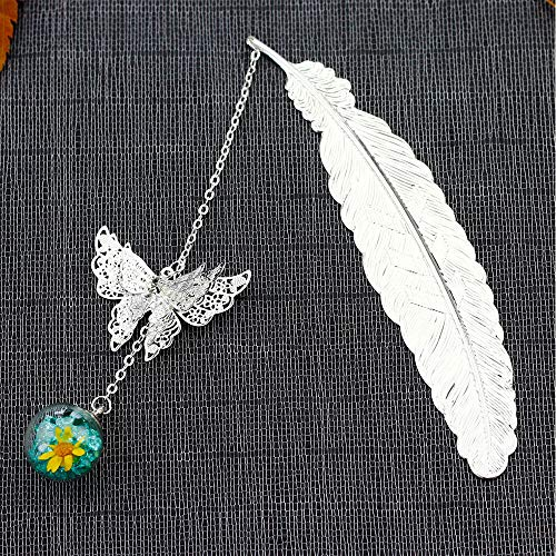 Konrisa Metal Bookmarks for Women Men Feather Shape with Beautiful Flower Butterfly Pendants Bookmark for Reader Decoration Girls Boys Gift (Silver Color)