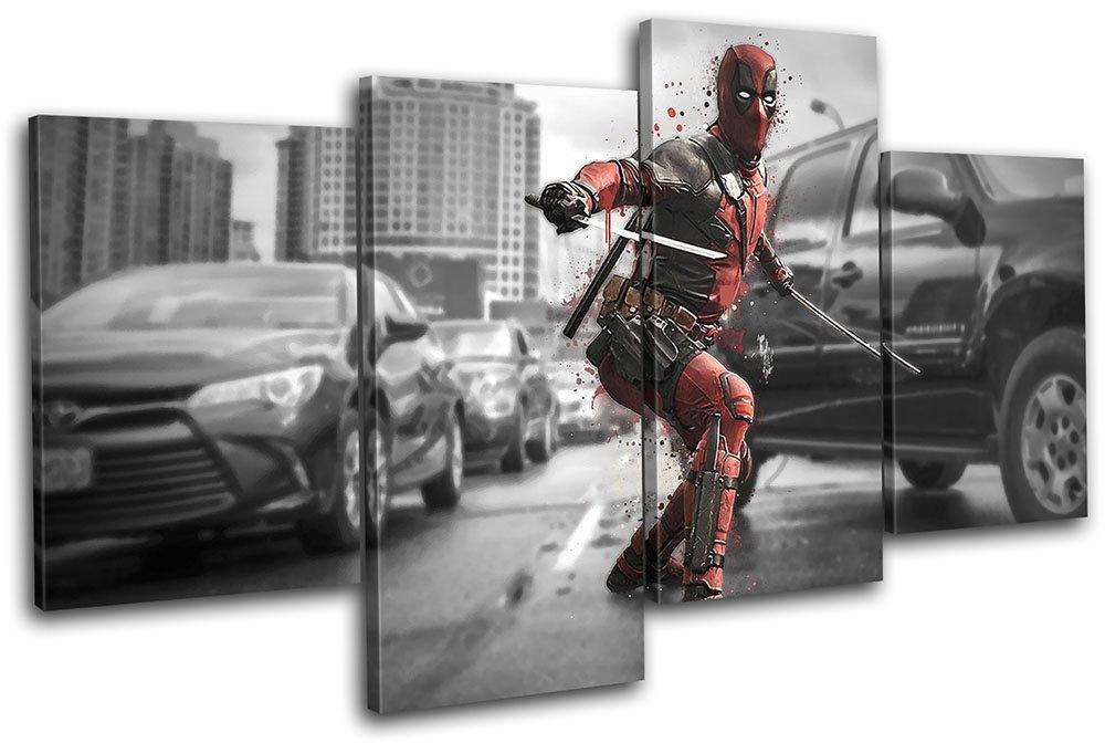 Bold Bloc Design Design Design - Deadpool Movie Superhero Movie Greats 200x113cm MULTI Leinwand Kunstdruck Box gerahmte Bild Wand hangen - handgefertigt In Grossbritannien - gerahmt und bereit zum Aufhangen - Canvas Art Print 4a3ccc