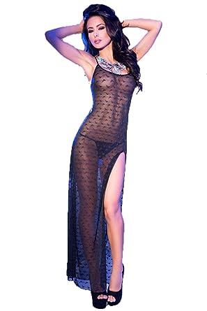 Transparentes Damen Dessous Maxi Kleid mit Muster in schwarz