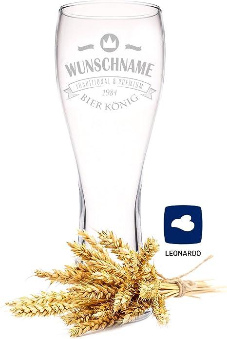 Weizenglas mit Name oder Wunschtext Gravur Leonardo Bierglas 0,5l inkl Motiv Barock individuelles Geschenk personalisiertes Wei/ßbierglas