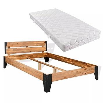Festnight Lit en Bois d acacia Massif avec Matelas Style Industriel 180 x  200 cm c63894039302