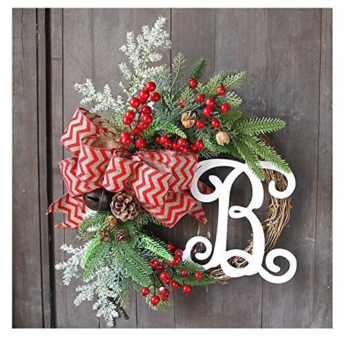 Price comparison product image Promisen Christmas Wreath, Merry Christmas Garland Decorations with Bowknot Red Berries Bells for Christmas Party Decor Front Door Wall, 37CM Diameter (Multicolor)