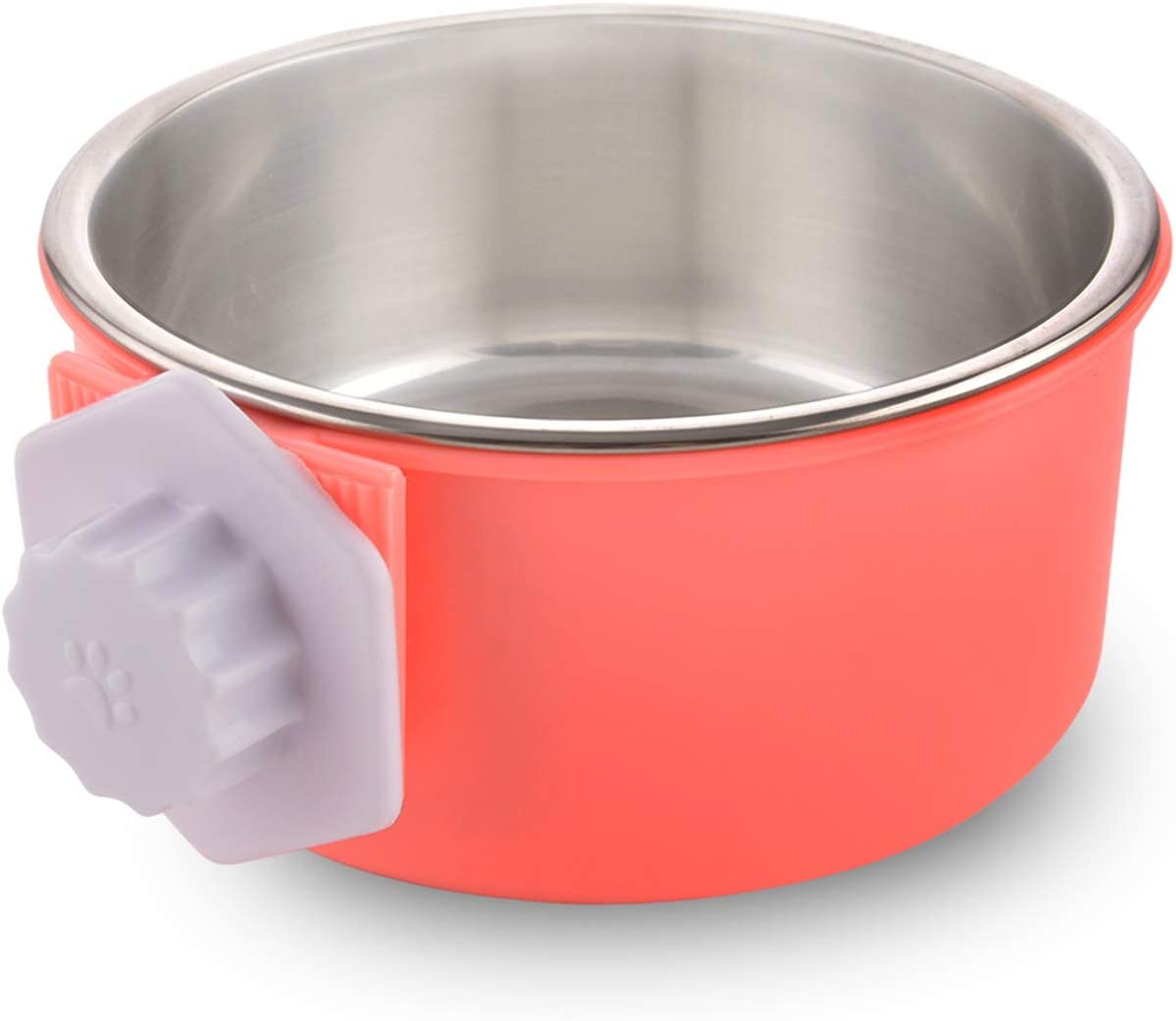 Guardians Crate Dog Bowl Removable Stainless Steel Water Food Bowls Cage Coop Cup for Cat Puppy Bird Pets (Small, Pink Orange)