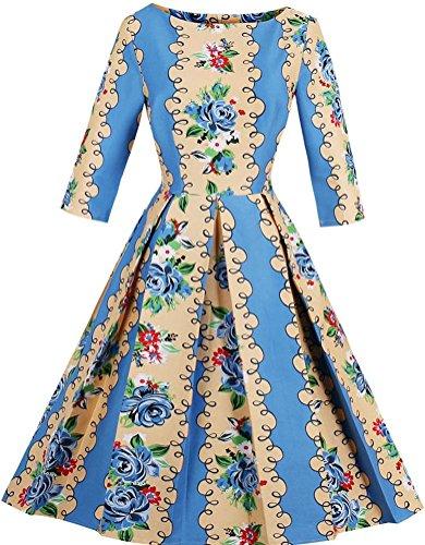 Ayli Women's Scoop Neck 3/4 Sleeve 1950s Retro Blue Flower Midi Dress, (Valentine Ball Dresses)