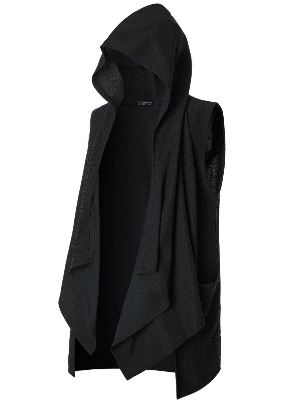 GIVON Mens Sleeveless Ruffle Shawl Collar Cardigan With Pockets/DCC035-BLACK-M
