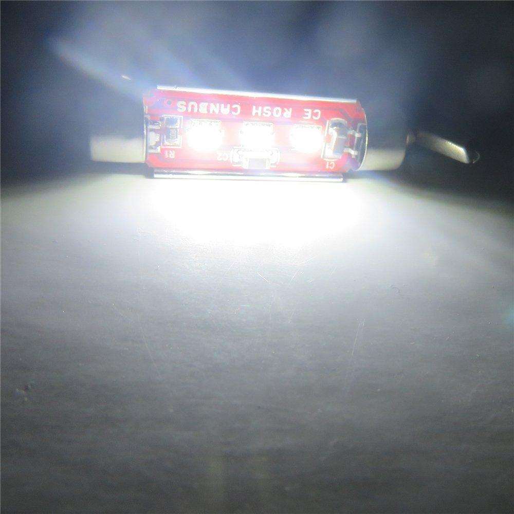 2/212 pas de polarit/é WLJH 2-pack Blanc 41/mm 211 2/ampoule LED navette 42/mm 6413/CANBUS erreur 3-cree Chips 3535/SMD de remplacement pour carte de d/ôme lecture Lghts de plaque dimmatriculation