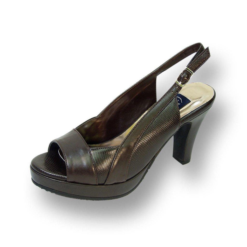 Peerage FIC Linda Women Wide Width Leather Slingback High Heel Platform Pump (Size & Measurement Chart) B01CB4BI76 8 E|Brown