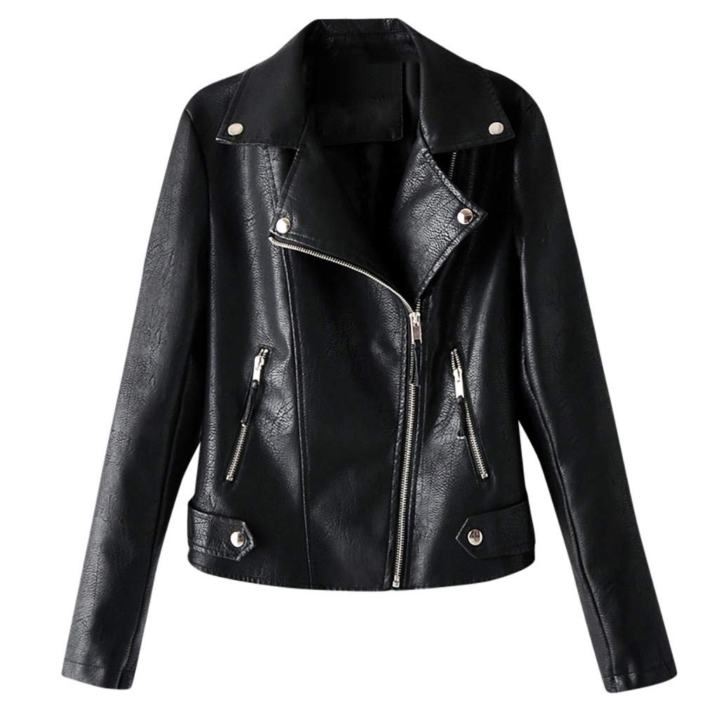 〓COOlCCI〓Women's Leather & Faux Leather Jackets & Coats,Zipper Moto Biker Short Coat Jacket with Pockets Windbreaker Tops by COOlCCI_Womens Clothing