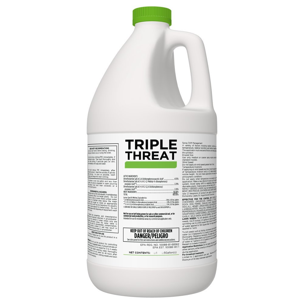 Triple Threat Selective Weed Killer Herbicide for Lawns and Turf - 1 Gallon Jug (Makes 64 Gallons) by FDC