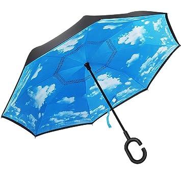 Paraguas plegable de doble capa plegable invertido y paraguas autónomo de la protección contra la lluvia