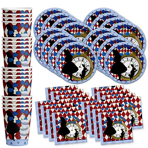 Alice in Wonderland Birthday Party Supplies Set Plates Napkins Cups Tableware Kit for 16 by Birthday Galore]()