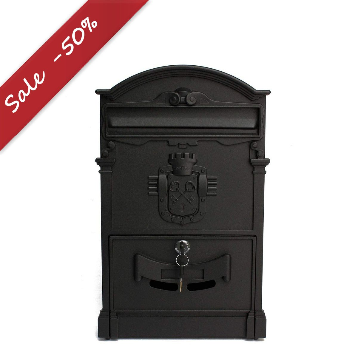 KINGSO Retro Outside Wall Mount Post Mailbox Lockable Secure Letterbox 41x25x8cm Black