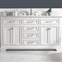 """Luca Kitchen & Bath LC60OWW Savanna 60"""" Single Bathroom Vanity Set in Pure White with Carrara Marble Countertop and Porcelain Sink"""