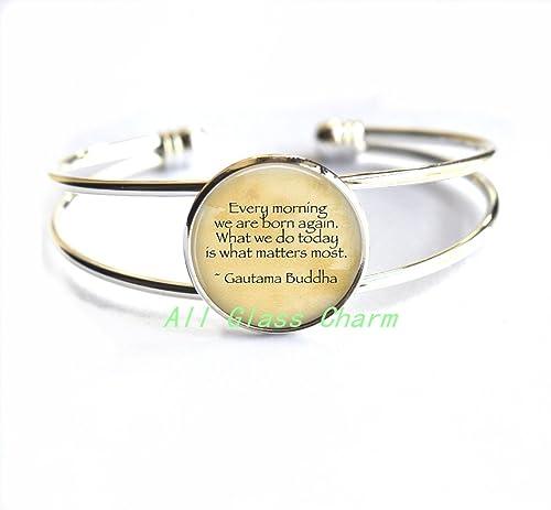 Amazon.com: Hermoso pulsera, cita de Buda pulseras – cada ...