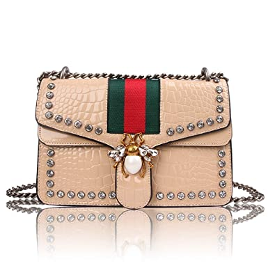 Meeto Designer Shoulder Bag for Women, Fashion Bee Crossbody Bag Handbags  with Chain,Evening cdfb08cf69