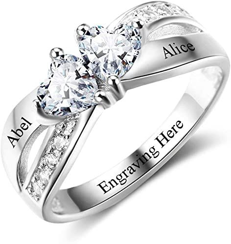 OPALSTOCK Personalized Promise Rings for Her 2 Simulated Birthstone Couple Rings Custom Name Rings for Women