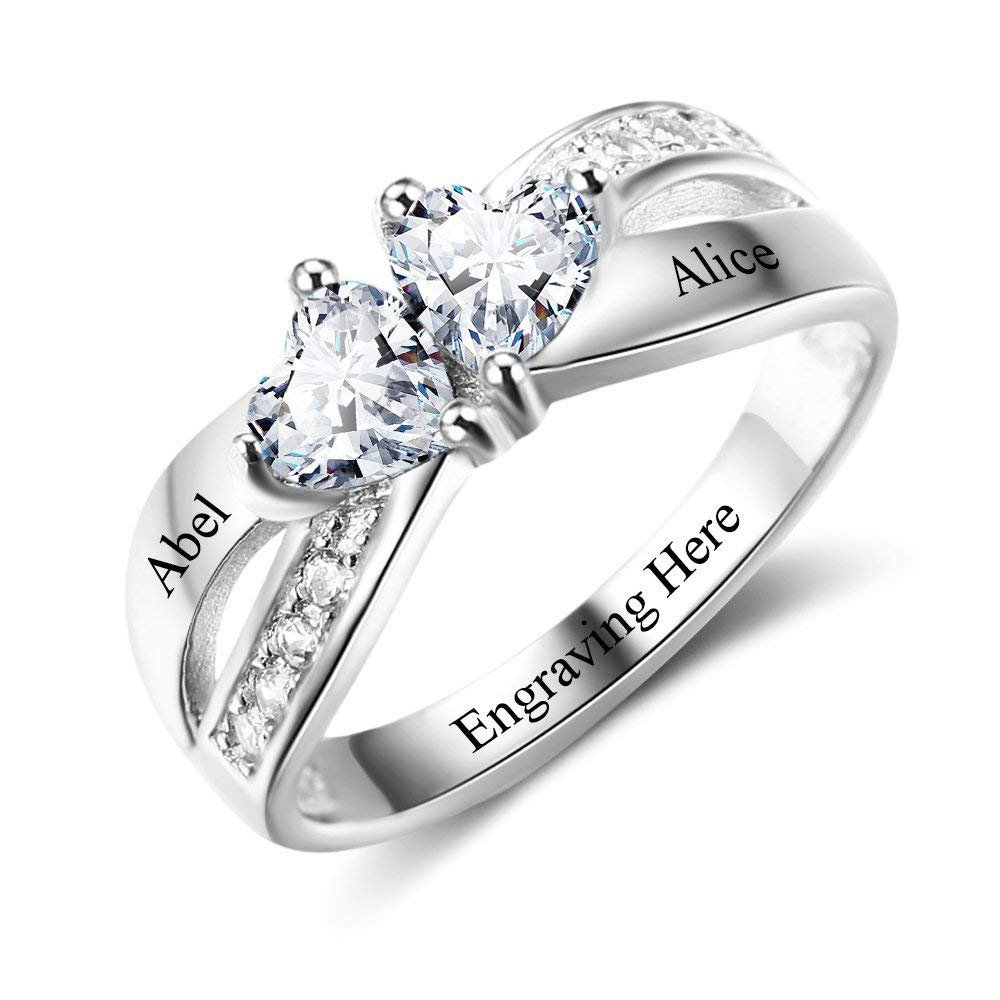 Lam Hub Fong Sterling Silver Engagement Ring Promise Ring For Her 2 Heart Birthstones 2 Names & 1 Engraving Customized Personalized Couple Ring