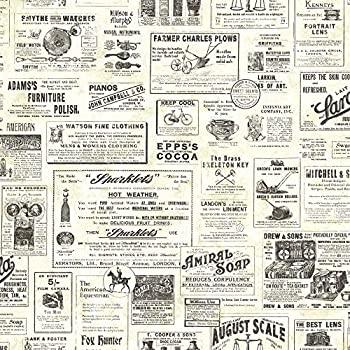 Chesapeake Ctr Adamstown Cream Vintage Newspaper Wallpaper