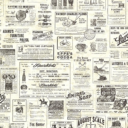 Chesapeake CTR64271 Adamstown Cream Vintage Newspaper ()