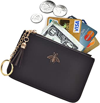 Tovly Womens Mini Leather Coin Purse Cash Wallet Card Holder Zipper Pouches  with Key Ring (Black) at Amazon Women's Clothing store