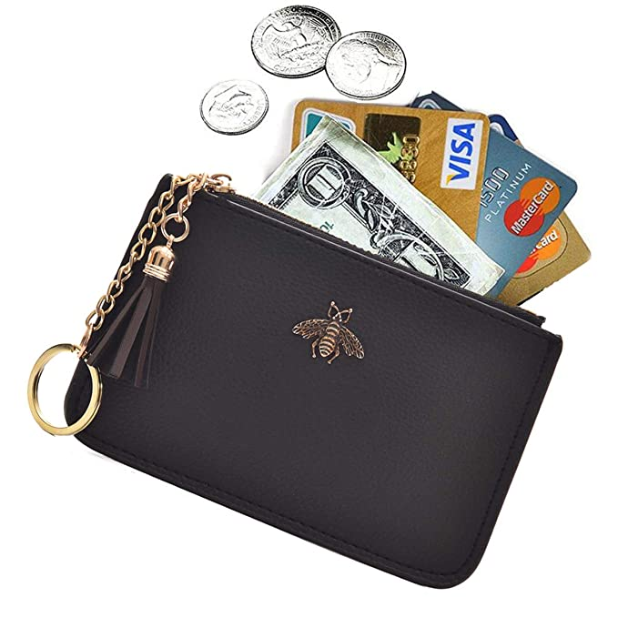 58833b41e7 AnnabelZ Women's Coin Purse Change Wallet Pouch Leather Card Holder with  Key Chain Tassel Zip