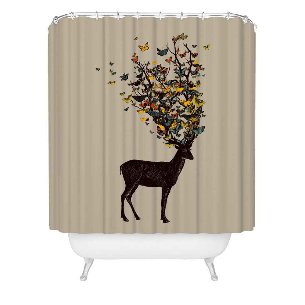 Deer Shower Curtain / Butterfly Shower Curtain / Beautiful Animal Artwork / Wild Nature / Fabric Shower Curtain / Made in USA / Great Decoration Gift for Bathroom
