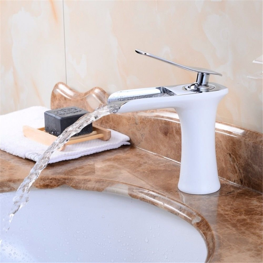 AQMMi Basin Sink Mixer Tap for Lavatory White Baking Paint Hot and Cold Water Waterfall nozzles Bathroom Vanity Sink Faucet