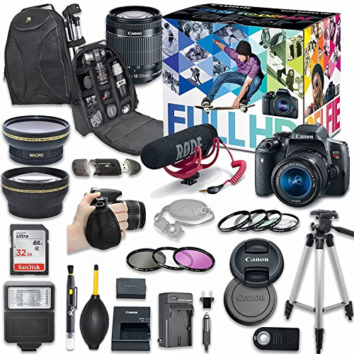 Canon EOS Rebel T6i DSLR Camera Deluxe Video Creator Kit with Canon EF-S 18-55mm f/3.5-5.6 IS STM Lens + Wide Angle Lens + 2x Telephoto Lens + Flash + SanDisk 32GB SD Memory Card + Accessory Bundle Canon Digital Rebel Kit