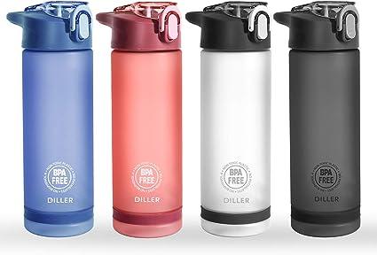 Diller Water Bottle with Straw - 25 Oz US Tritan BPA Free Sport Water Bottle with Flip-Flop Lid