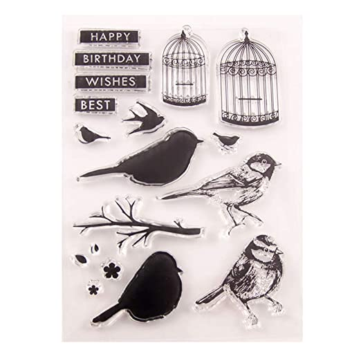 Jaula de pájaros Happy Birthday Best Wishes, sellos transparentes ...