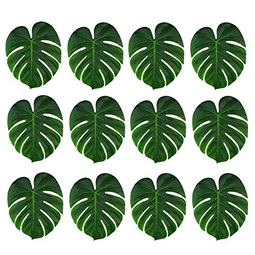 Eforstore 12 pcs Tropical Imitation Plant Leaves,Palm Leaves Leaf Placemats Party Jungle Beach Theme Decorations for Birthdays, Prom, Events(Medium)]()