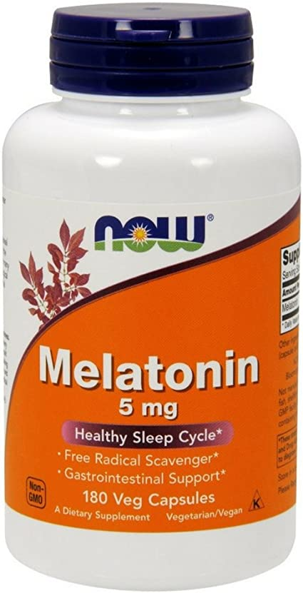 NOW Supplements, Melatonin 5 mg, 180 Veg Capsules