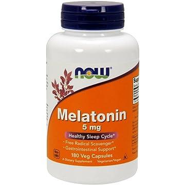 NOW Melatonin 5 mg,180 Veg Capsules