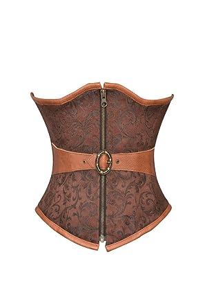 ce175820db4ab Brown Brocade Leather Belt Steampunk Waist Training Bustier ...