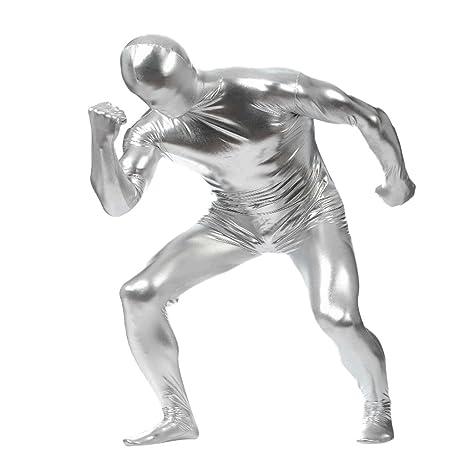 MagiDeal Metallisch Glänzenden Ganzkörperanzug Anzug Suit Kostüm Spandex Zentai Body Kostüm Hauteng farbe auswahl - silber, x
