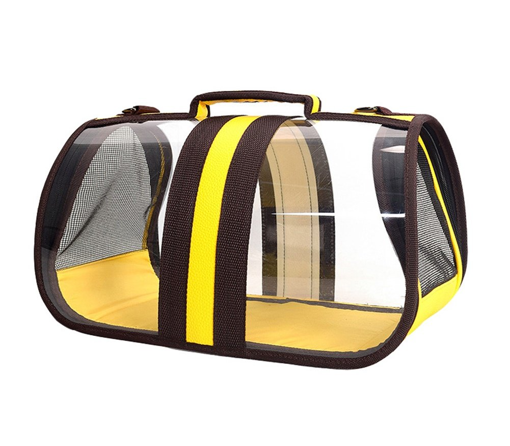 WowowMeow Transparent Cat Carrier Pet Handbag Travel See-through Design Breathable Shoulder Bag for Cats and Puppies (L, Yellow/Coffee)
