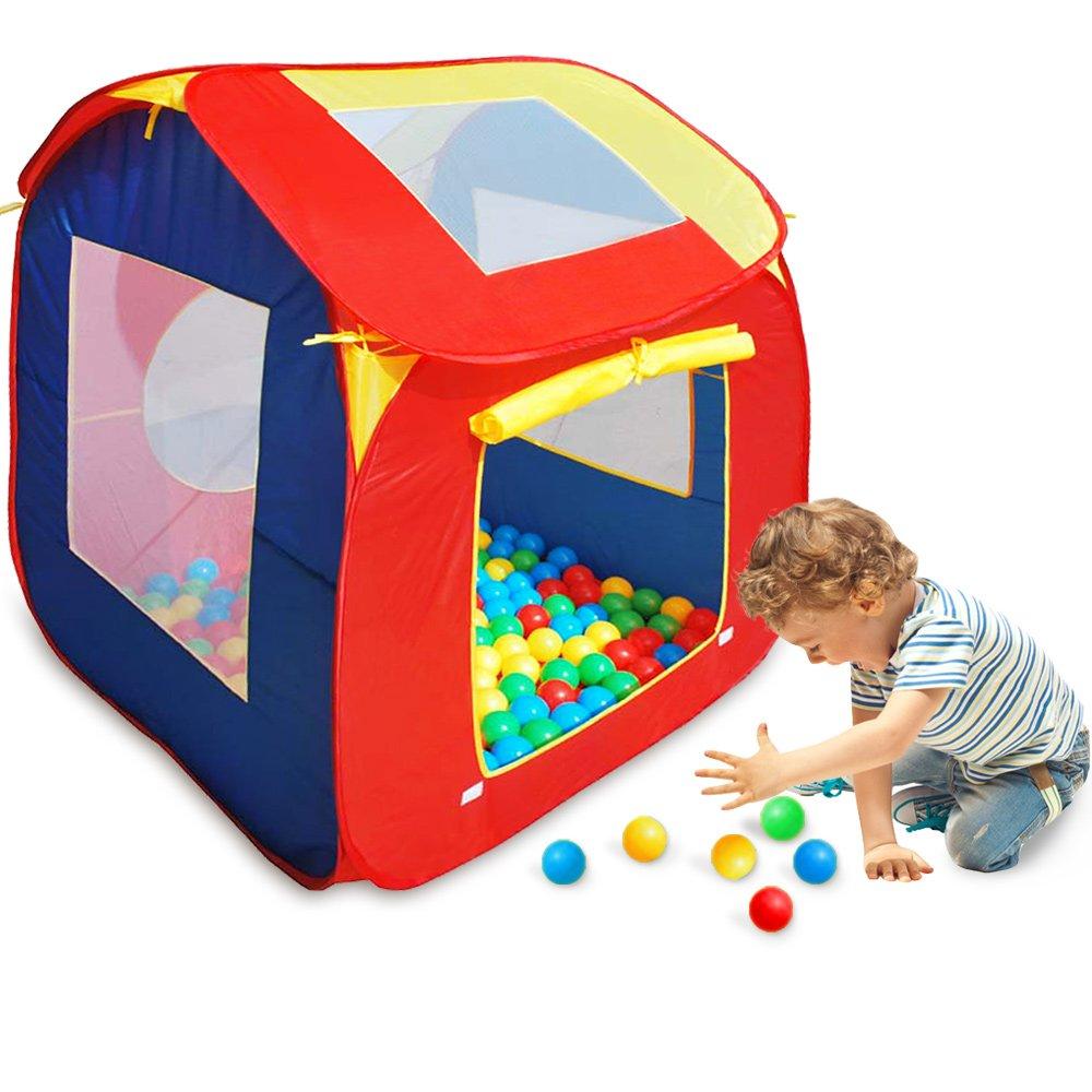   Kinder Spielzelt Bällebad   + 200 Bälle   abnehmbares Dach   POP UP Kinderzelt   Für Drinnen und Draußen   Spiel Haus Zelt Iglu Baby Kleinkinder Jungen Mädchen Deuba 102199