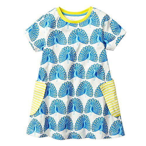 NYCMIRABELLE Girls Cartoon Flowers Print Cotton Summer Tunic Dress with Striped Pocket,Shortsleeve (3T,Peacock)