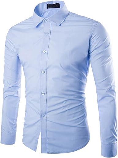 Boyang - Camisas de manga larga para hombre, de corte ajustado, fibra de bambú, para traje, negocios, bodas, ocio, camisas para hombres azul claro M: Amazon.es: Ropa y accesorios