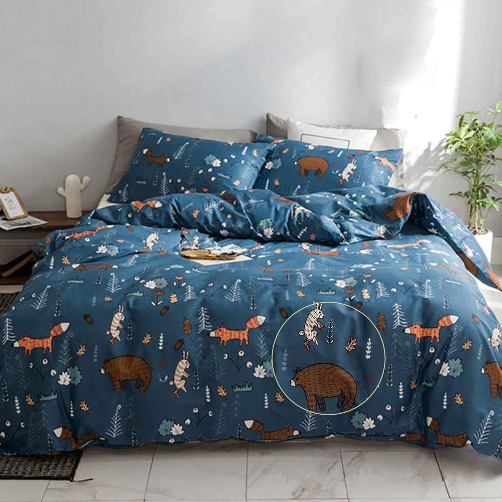 Karever Kids Navy Duvet Cover Sets Queen Kids Bedding Set Boys Woodland Comforter Set Cotton Animal Forest Fox Bear Rabbit Navy Blue Reversible Home Kitchen