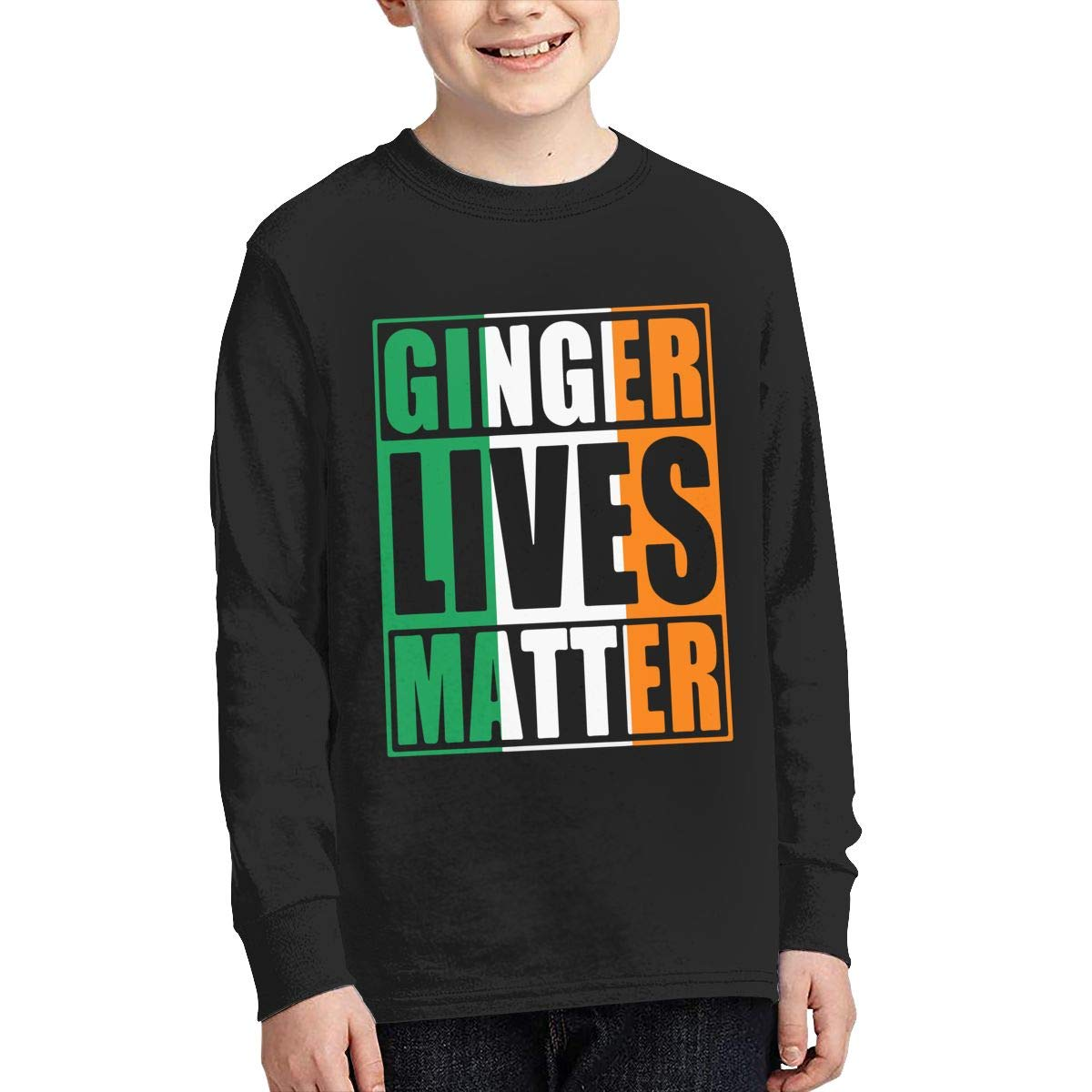 Teenagers Teen Boy Ginger Lives Matter Irish Flag Printed Long Sleeve 100/% Cotton T Shirts