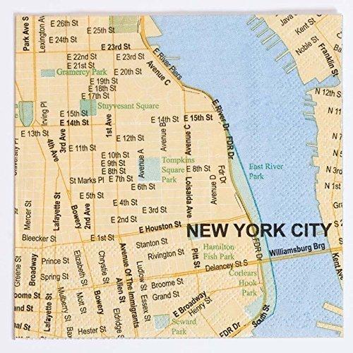 DESIGN IDEAS New York Doodles Destinations City Map Beverage Napkins