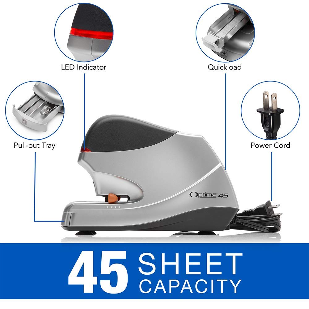Renewed 48209 Swingline Electric Stapler Optima 45 Silver 45 Sheet Capacity Jam Free