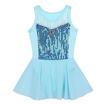 09d789a207d2 iEFiEL Kids Girls  Shiny Sequined Gymnastic Ballet Dance Leotard ...