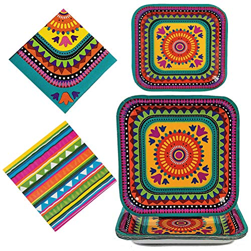 Fun Express Boho Fiesta Party Bundle | Dinner & Dessert Plates, Napkins | Great for Birthday, Cinco de Mayo, Bohemian, Mexican-Theme -