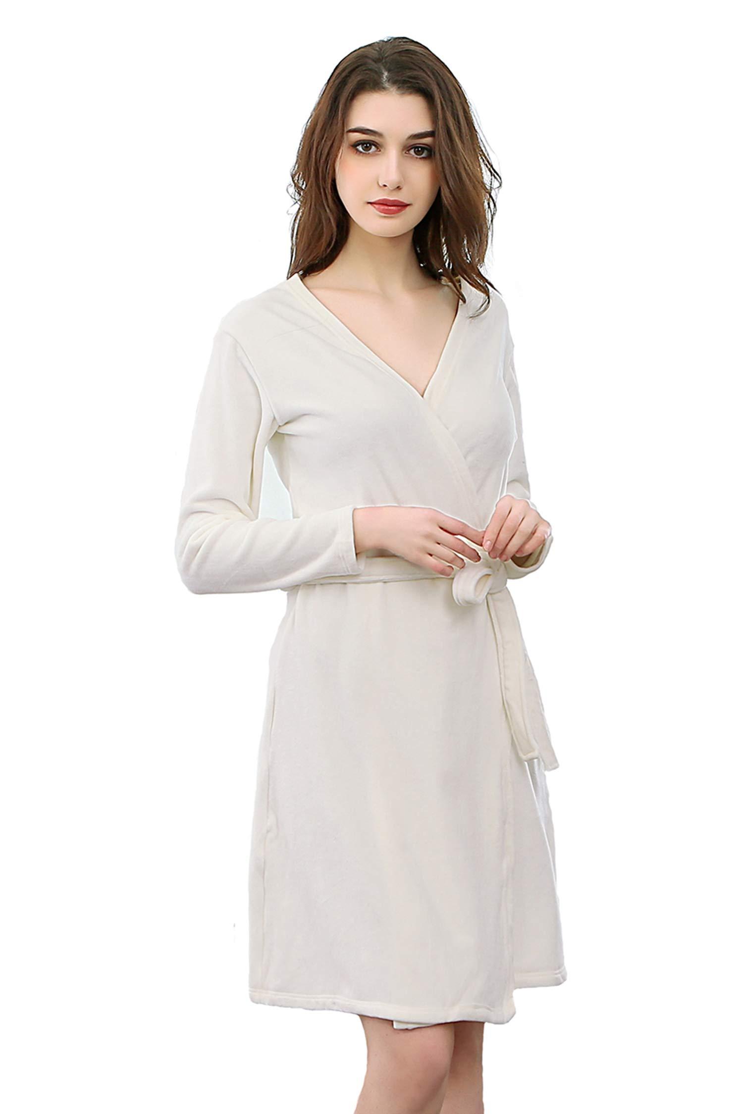 Cahayi Super Soft Women Bathrobe Lightweight Spa Hotel Robe Kimono Nightgown