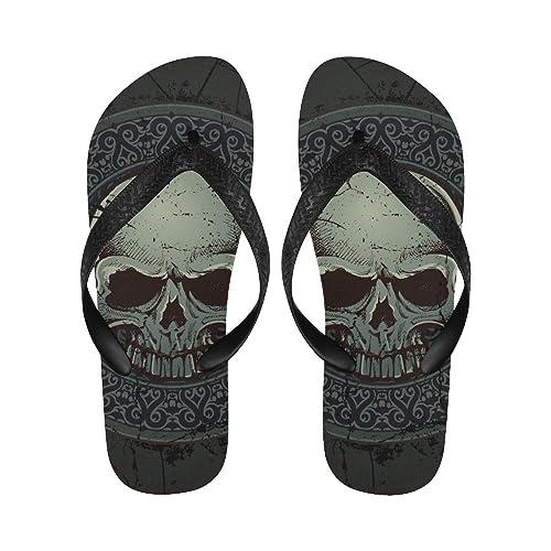 6bc2124ce LumosSports Gothic Punk Skull Flip Flops Beach Sandals for Men and Women